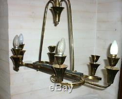 Antique Lustre Moderniste Arlus Lunel Lampe Vintage