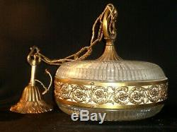 Antique Suspension Lustre Bronze Laiton Verre Holophane Vers 40