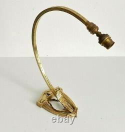Applique / lampe bronze laiton Art Déco rotule orientable Pour tulipe Muller