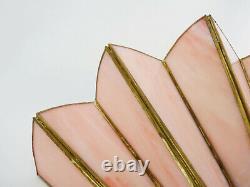 Applique murale éventail style Art Déco en laiton et véritable pâte de verre