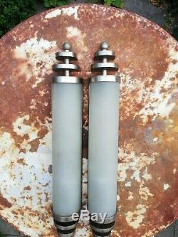 Appliques Art Déco, luminaires modernistes en verre & laiton, France, 1930 s