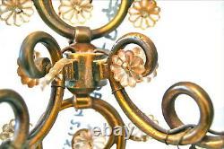 Appliques murale néo Louis XV Bronze doré, pampilles de verre H 36 cm Vintage
