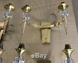 Appliques torche vintage bronze doré laiton cristal de sevres Art Deco Adnet