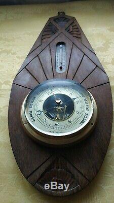 Art Déco Antique Barometer en bois, métal, laiton et verre Wall Weather Station