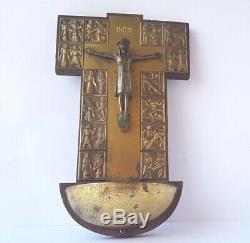 Art Déco Croix, Jésus, Bois, en Laiton, Um 1930 L519