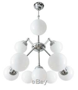 Art Déco Lustre Argent Luminaire de Plafond 10xE27 Qualité Premium Echt-Messing