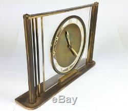 Art Déco Montre/Horloge de Table, en Laiton, Fonctionnel, Um 1920 Al595