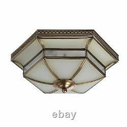 Art Déco Plafonnier en Verre Métal En Laiton Décoré Art Nouveau Lampe