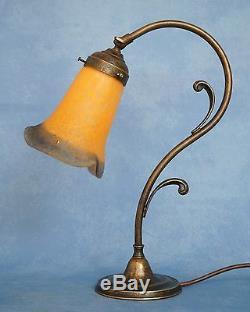 Art Nouveau Lampe de Piano Table Chevet Pate Verre Vianne Abat-Jour en Laiton