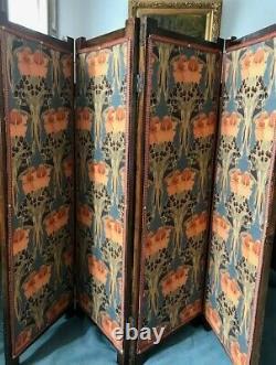 Art déco paravent 4 feuilles huiles sur toile paysage décor laiton 1930