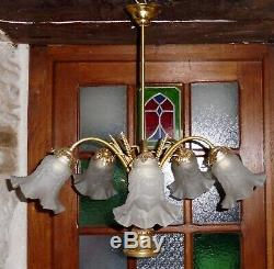 Beau grand LUSTRE laiton doré épis de blé 5 lumières suspension luminaire