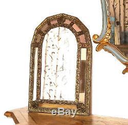 Beau miroir à parcloses en laiton, époque 1900/1920