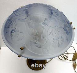 Belle LAMPE CHAMPIGNON pied laiton coupelle verre bleu style art déco