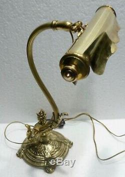 Belle LAMPE DE BUREAU ancienne bronze et laiton recevable et orientable