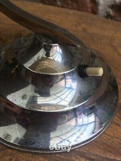 Belle Lampe Art Deco Metal Chrome Verre Jaune Opalime Fonctionne Parfaitement