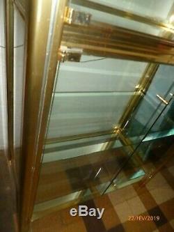 Bibliotheque vitrine 4 etageres 1960 laiton verre style holllywood regency