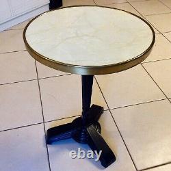 Bistro table de bistrot guéridon art déco 1930 cerclage en laiton pied en fonte