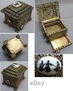 Boite coffret en bronze laiton avec tiroir secret époque ART DECO vers 1920