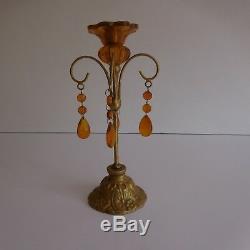 Bougeoir candlestick art nouveau laiton verre papille XXe déco design PN France