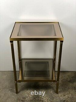 Bout de canapé / table d'appoint vintage 70'S en verre et laiton