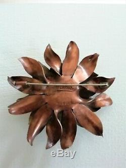 Broche en cuivre et laiton art déco année 30