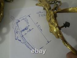 Bronze ou laiton doré de suspension pour vasque luminaire art nouveau ou déco