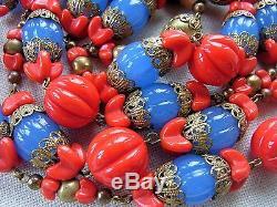 COLLIER SAUTOIR ART DECO Perles MELON Pâte de Verre Rouge & Bleu Opalescent