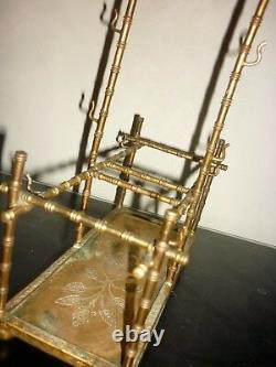 Cabaret à liqueur en laiton fin XIXème vide, modèle bambou art déco Dlg Adnet