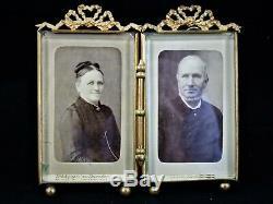 Cadre Photo double en verre et métal, bronze ou laiton