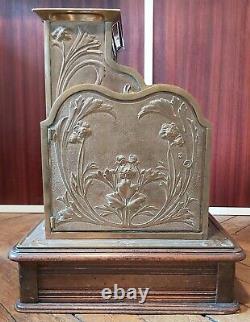 Caisse Enregistreuse La Nationale Style Art Nouveau Laiton et Bois