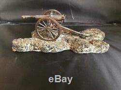 Canon de 75 en laiton, socle en pierre vers 1910-1920 WW1 french field gun