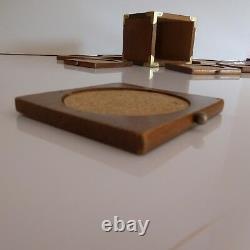 Coffret 8 dessous de verre fait main vintage art déco design XXe PN France N2825