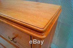 Commode art-déco chêne, 3 tiroirs, laiton doré L 100 x 44 H 99 cm Vintage