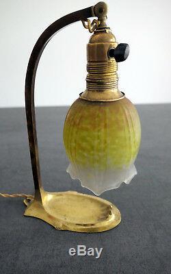 Daum Nancy Superbe Lampe Tulipe Pte De Verre Pied En Laiton Art Deco/nouveau