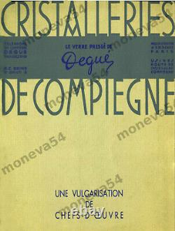 Degué Paire Dappliques Art Déco Modernistes Verre Pressé & Laiton Argenté 1930