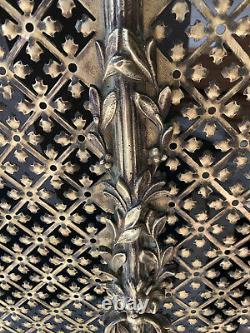 Devant de Cheminée Pare feu Art Déco Laiton / Bronze ajouré 65,5 X 72,5 / Façade