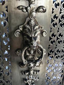 Devant de Cheminée Pare feu Art Déco Laiton / Bronze ajouré 65cm / 56 cm chimère