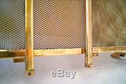 Ecran de cheminée à 3 volets grillagés laiton. Art-déco 1930's H 65 cm. L 96cm
