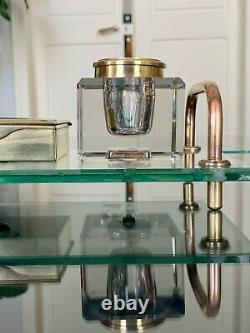 Encrier Art Déco Moderniste en Cristal et Laiton Accessoires Bureau Décoration
