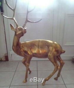 Gilde Handwerk Cerf Laiton Statue Sculpture H 87 Cm Long 60cm 9 kg