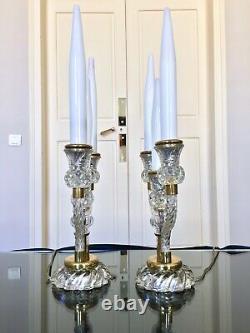 Girandoles Art Déco Paire de lampes en Verre Fausses bougies Opaline Blanche