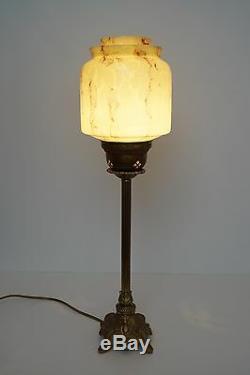Grand Original Art Nouveau Art Déco Lampe de Table en Laiton 1930 Verre Opale
