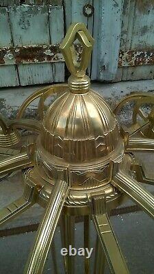 Grand lustre en bronze et laiton époque art déco
