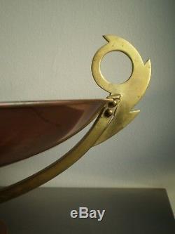 Grande Coupe Sur Pied Art Deco Laiton Cuivre Macassar Moderniste 1930 Ancien