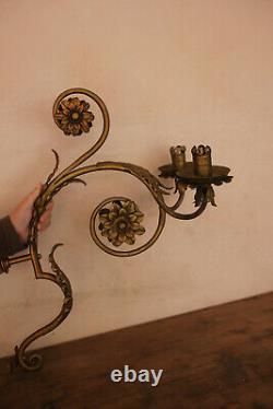 Grande applique en métal doré pour bougies. Art déco
