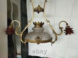 Grande suspension Art Nouveau Bronze Laiton Doré 2 tulipes 1 coupe