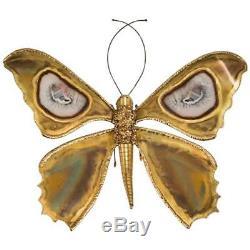 Henri Fernandez, Applique Papillon, Laiton Et Agate Circa 1970 J. Duval-Brasseur