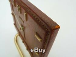 Horloge de table, pendule, Bayard en cuir gainé marron et laiton