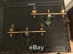 Jacques Adnet 2 Appliques Art Deco Vert Antico & Laiton Wall Lamp
