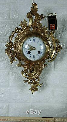 Japy Freres Horloge Murale Laiton Massif Doré 38cm Haute Antique Frères